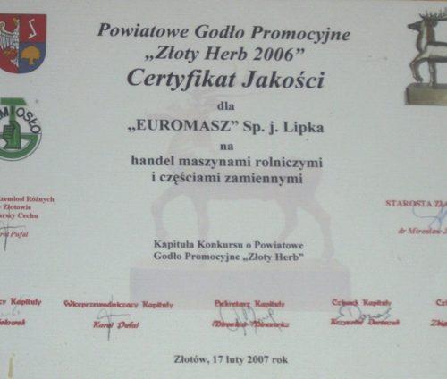 certyfikat jakości euromasz